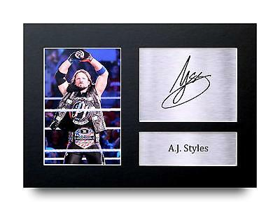 A.J. Styles Gift Signed A4 Printed Autograph Print Wrestling WWE Gifts Photo