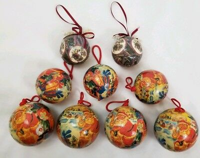 9 VINTAGE PAPER mache decoupage Christmas ornaments balls handmade various  sizes