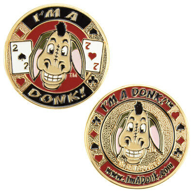 "SET OF 2 ""I'm a Donk!"" Donkey 1.5"" Brass Coins Medallions Casino Card Guards"