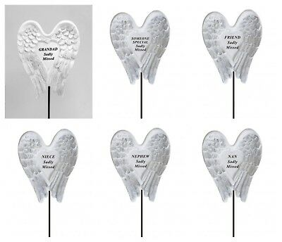 White & Silver Angel Wings Sadly Missed Memorial Sticks Funeral Rip Grave Marker