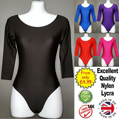 Girls Leotards Long Sleeve Dance Nylon Lycra Ballet Gymnastic childrens (CC)