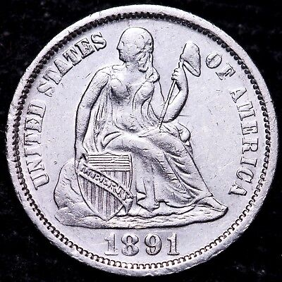 AU 1891 Seated Liberty Dime - Cleaned                  K9AET