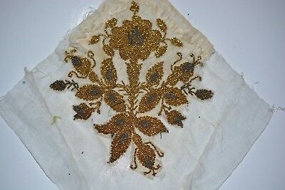 Vintage Antique Handmade Piece of Cloth Embroidery Beads Art Deco 19th century