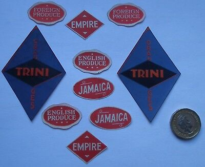10 Very Rare Antique -  Old Vintage Small English Fruit Crate Labels