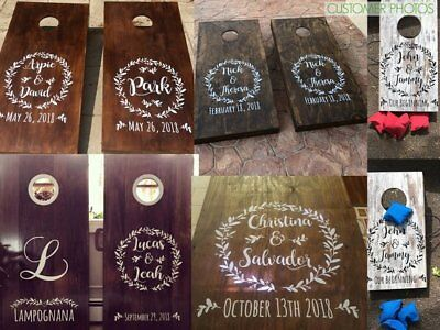 Wedding cornhole decals personalized with names & date . DIY corn hole stickers.