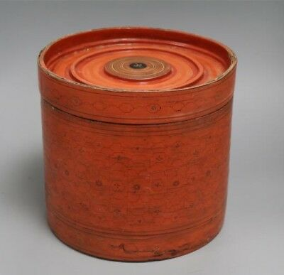 A Thai Red Lacquer Box With Lid, Height 22cm And 24cm Wide