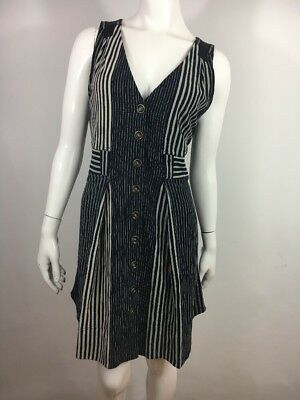 Marc Jacobs Navy Beige Gray Striped Dress L Buttons Pockets Pleated V-Neck