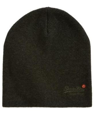 Superdry Orange Label Beanie Dark Green Mens One Size New