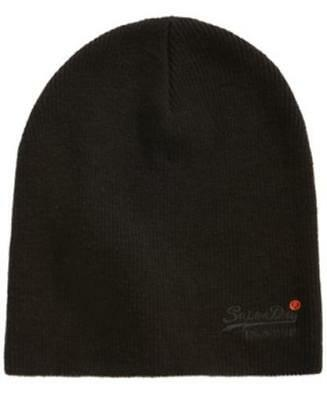 Superdry Orange Label Beanie Black Mens One Size New
