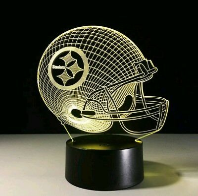 Pittsburgh Steelers Helmet Night Light 3D Hologram LED NFL Football Lamp USA