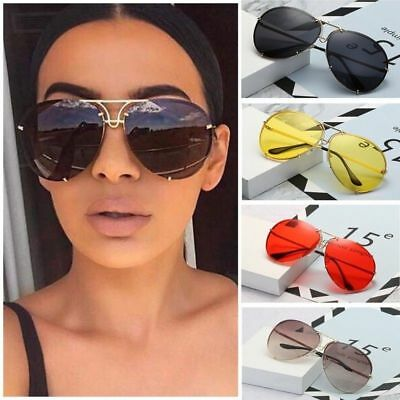 UK Black & Gold Oversized Aviator Sunglasses Flat Top Big Large Luxury Mirrored