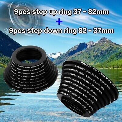 18pcs 9 Step Up 9 Step Down Metal Camera Lens Filter Ring Adapter Kit  DC453