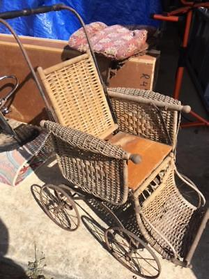 Antique Wicker & Wood Child's Polio Wheelchair