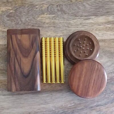 Dark Wood Dugout Set with Wooden Grinder, 5x Aluminum One Hitter Pipe Bats