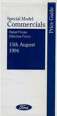 Ford Transit Plus Flareside High Cube Prices & Options 1994 UK Market Brochure
