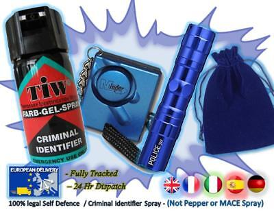 FARBGEL + Attack Alarm + 3w Torch + Pouch = (The Blue 3w Personal Defence Pack)