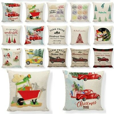 Red Farm Fresh Christmas Tree Throw Pillow Case Truck Happy Camper Cushion Cover