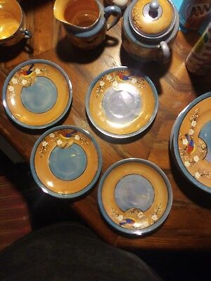Vintage 12 Piece Japanese Porcelain Lustreware Tea Set Peach & Blue