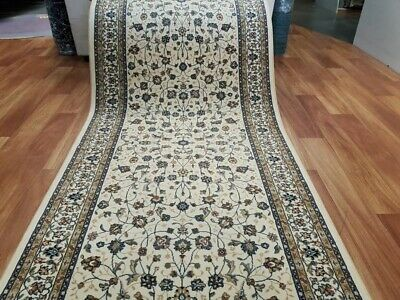 Persian Design Hall Runner by the Meter 80cm or 100cm Wide Cream Beige Elite Sof