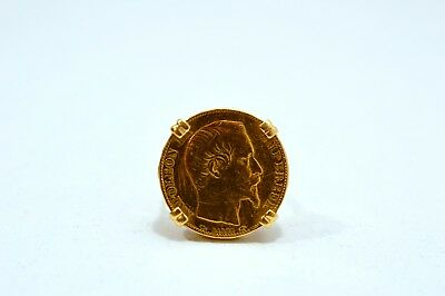 1854 French 20 Franc Gold Coin 22K, Mounted On 18K Ring
