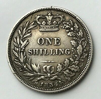 Dated : 1834 - Silver Coin - One Shilling - King William IIII - Great Britain