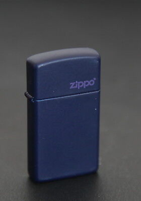 Zippo Lighter Slim Navy Blue Matte w Logo #1639ZL Made in USA
