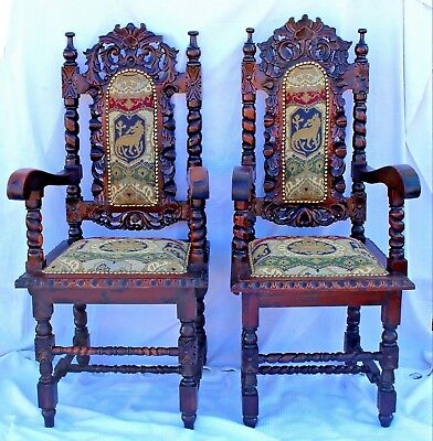 Pair of Antique Mahogany Baroque Revival Throne Arm Chairs, Restored