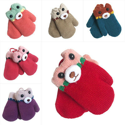 Baby Toddler Girl Boy Bear Winter Warm Gloves Thick Fur Knitted Mittens 1-2Years