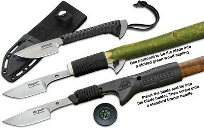 Outdoor Edge Harpoon Knife One Piece 7Cr17 Steel Black Paracord Wrapped Handle