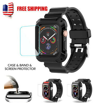 Fr Apple Watch Series 4 Rugged Sports Case With Strap + Screen Protector 40/44mm