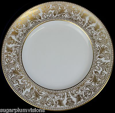 """Wedgwood GOLD FLORENTINE W4219 (White Body) Salad Plate 8-1/8"""" Excellent"""