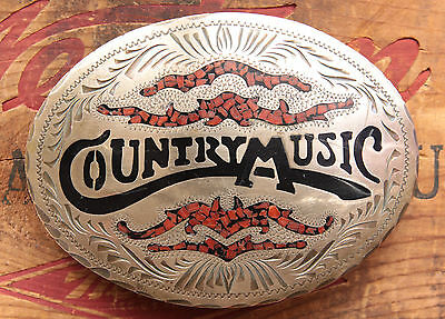 Vintage Hand Made Country Music Bronze Face Coral Chip Inlay Western Belt Buckle