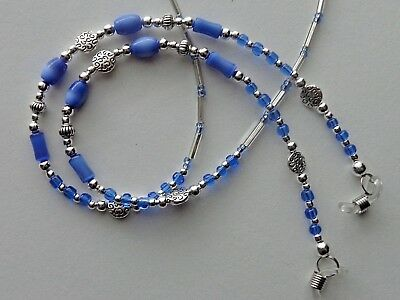 Blue With Hearts Handmade Eyeglass Holder  Chain Necklace Quality Rubber Ends