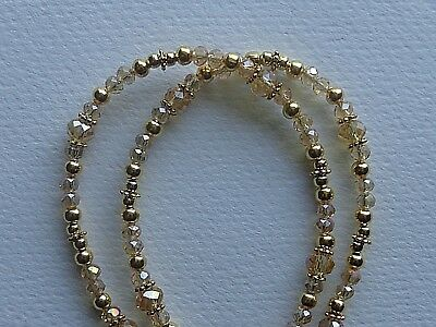 Gold Crystal Beads  Handmade Eyeglass Holder Chain Necklace Quality Rubber Ends