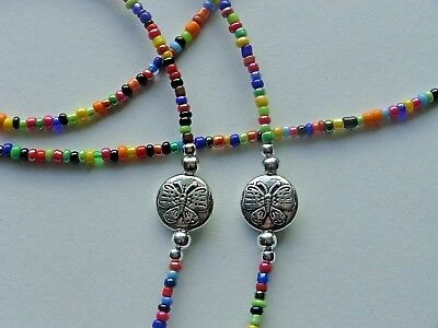 Butterflies Multicolor Beads Eyeglass Holder Chain Necklace Quality Rubber Ends