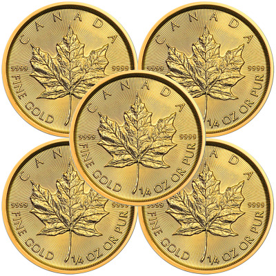 Lot of 5 - 2019 $10 Gold Canadian Maple Leaf .9999 1/4 oz Brilliant Uncirculated