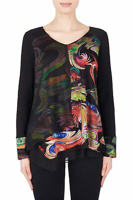 Joseph Ribkoff Black/Multi Long Sleeve Layered Tunic Top 184698 New Season
