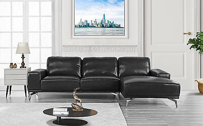 Dobson Leather Modern Sectional Sofa Black 84019 Picclick
