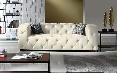 TUFTED LEATHER CHESTERFIELD Sofa, Classic Living Room Couch ...