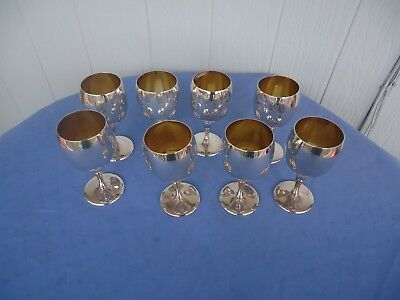 8 silver & gold plated wine glasses goblets albion