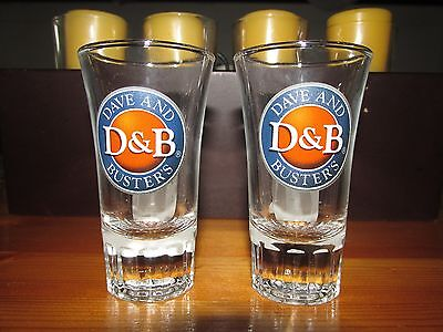 Set Of 2 Dave & Busters Tall Fluted Shot Glasses Bar Man Cave Arcade Games