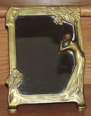 Vintage Art Nouveau Semi-Nude Woman/Lady Flowers Solid Brass Deco Frame Mirror