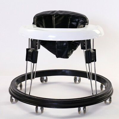 New Latest  Anti-Rollover Folding Walker Baby Safe Toddler Pu Black Cushion