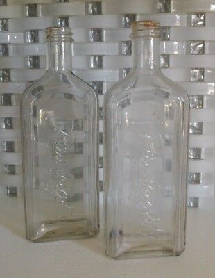 Set of 2 Antique Apothecary Cough Syrup ? Embossed Bottles Rawleighs Trade Mark