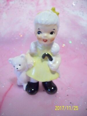 *SUPER RARE VTG * Girl Angel Holds Pink Teddy Bear & Parasol EX