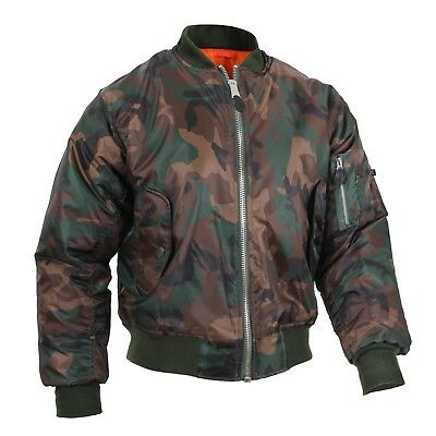 MA-1 Style Flight Jacket US Navy USAF Army USMC Aviation Bomber Woodland Camo