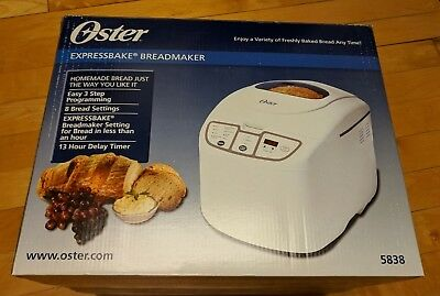 Oster 5838 ExpressBake 2 Lb Bread And Dough Maker White Good Condition