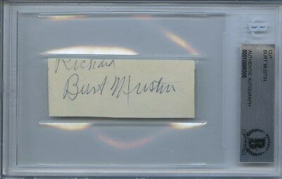 Burt Mustin Signed Clipped Card Encapsulated Bas Beckett The Andy Griffith Show