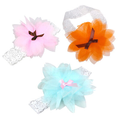Kids Baby Girl Headband Hairband Wedding Elastic Ruffle Flower Bow Knot Sof G3I4