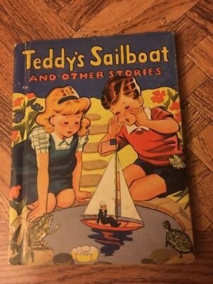 Vintage Teddy's Sailboat And Other Stories Children's Book 1942 Rand McNally